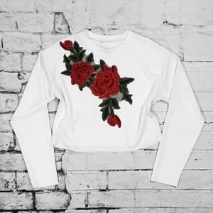 Tops - Rose Embroidered Ribbed Crop Top